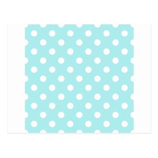 Polka Dots Large - White on Pale Blue Postcard