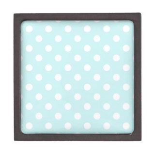 Polka Dots Large - White on Pale Blue Premium Keepsake Box
