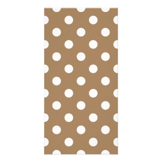 Polka Dots Large - White on Pale Brown Photo Card