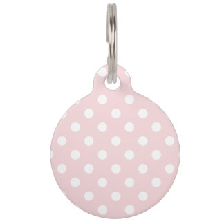 Polka Dots Large - White on Pale Pink Pet Name Tag