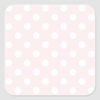 Polka Dots Large - White on Pale Pink Square Sticker