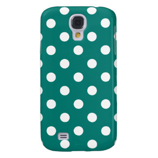 Polka Dots Large - White on Pine Green Samsung Galaxy S4 Cases