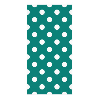 Polka Dots Large - White on Pine Green Photo Card