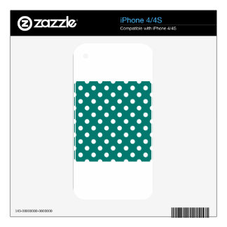 Polka Dots Large - White on Pine Green Skin For iPhone 4