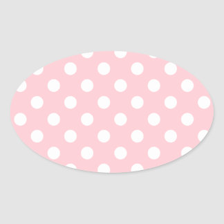 Polka Dots Large - White on Pink Oval Sticker