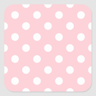 Polka Dots Large - White on Pink Square Stickers