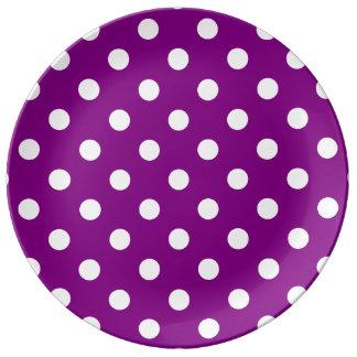 Polka Dots Large - White on Purple Porcelain Plate