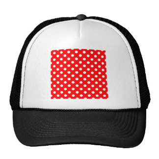 Polka Dots Large - White on Red Trucker Hat
