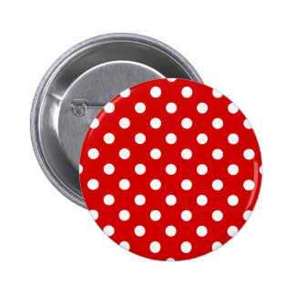 Polka Dots Large - White on Rosso Corsa 2 Inch Round Button