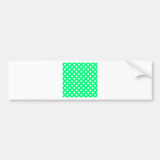 Polka Dots Large - White on Spring Green Bumper Sticker