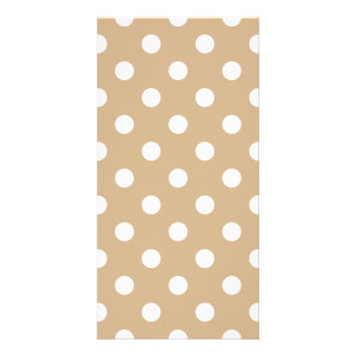 Polka Dots Large - White on Tan Photo Card