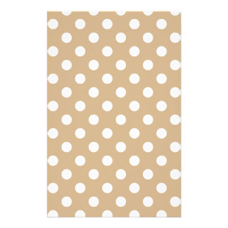 Polka Dots Large - White on Tan Stationery Paper