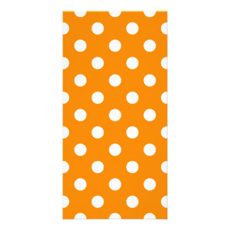 Polka Dots Large - White on Tangerine Photo Card