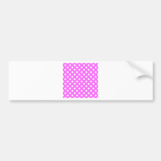 Polka Dots Large - White on Ultra Pink Bumper Stickers