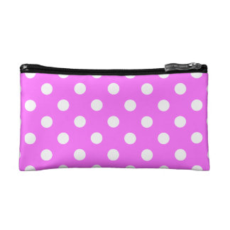 Polka Dots Large - White on Ultra Pink Cosmetic Bag
