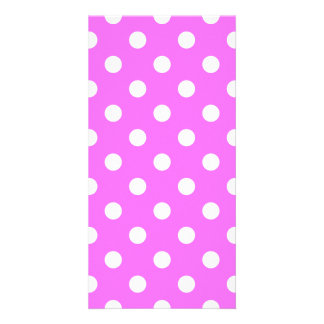 Polka Dots Large - White on Ultra Pink Photo Card