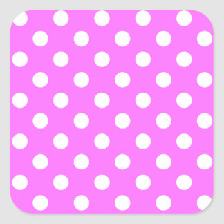 Polka Dots Large - White on Ultra Pink Square Sticker