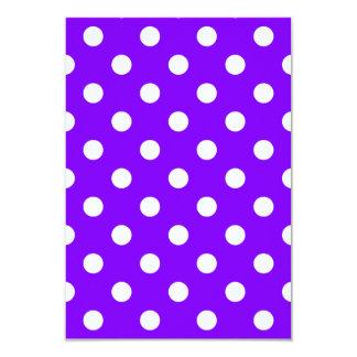 Polka Dots Large - White on Violet 3.5x5 Paper Invitation Card