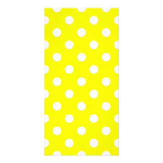 Polka Dots Large - White on Yellow Photo Card