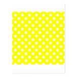 Polka Dots Large - White on Yellow Post Cards