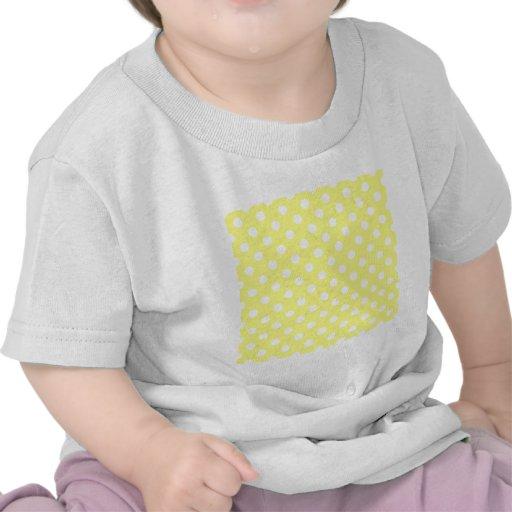 Polka Dots Large - White on Yellow T Shirts