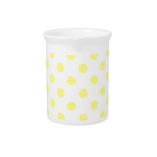 Polka Dots Large - Yellow on White Drink Pitcher