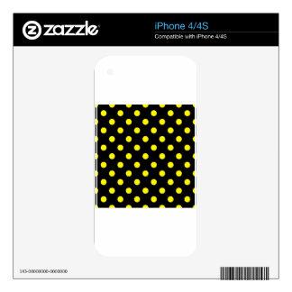 Polka Dots - Lemon on Black Skin For iPhone 4