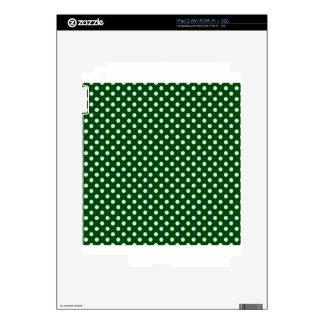 Polka Dots - Light Blue on Dark Green Skins For The iPad 2
