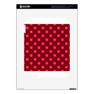 Polka Dots - Light Red on Dark Red Decal For iPad 3