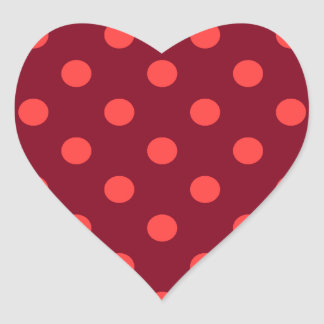 Polka Dots - Light Red on Dark Red Heart Sticker