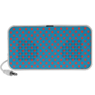 Polka Dots - Light Red on Light Blue Portable Speaker