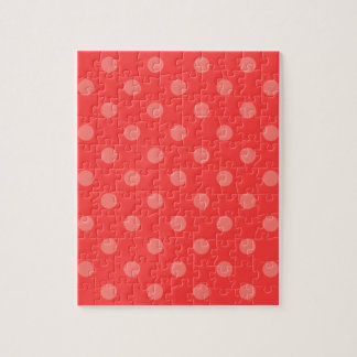 Polka Dots - Light Red on Red Jigsaw Puzzle