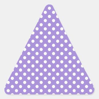 Polka Dots - Light Yellow on Light Violet Triangle Sticker