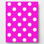 Polka dots magenta #FF00DC Display Plaque