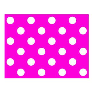 Polka dots magenta #FF00DC Post Card