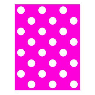 Polka dots magenta #FF00DC Postcard
