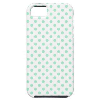 Polka Dots - Magic Mint on White iPhone SE/5/5s Case
