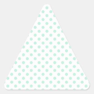 Polka Dots - Magic Mint on White Triangle Sticker
