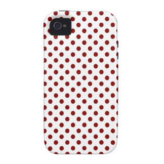 Polka Dots - Maroon on White iPhone 4/4S Cases