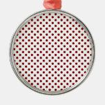 Polka Dots - Maroon on White Christmas Ornaments