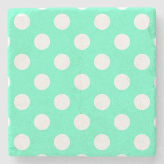 Polka Dots Mint Green Stone Coaster