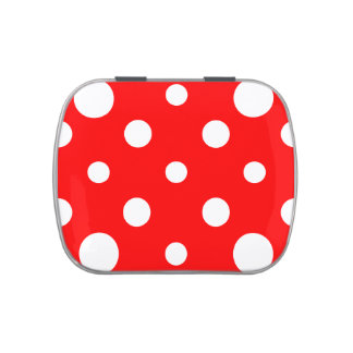 Polka Dots Mixed II - White on Red Candy Tin