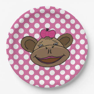 Polka Dots & Monkey's Kids Party Plates 9 Inch Paper Plate
