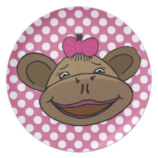 Polka Dots & Monkeys Melamine Plate
