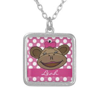 Polka Dots & Monkeys Personalized Pendant Necklace