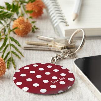 Polka dots monogram basic round button keychain