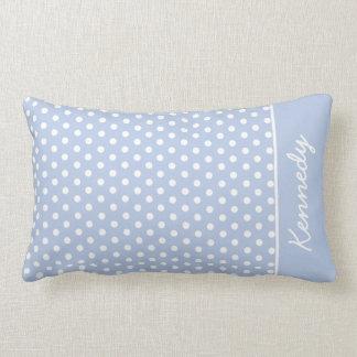 Polka Dots & Monogram | Light Blue White Lumbar Pillow