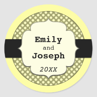 Polka Dots Monogram* ~ MAKE IT ANY COLOR!* Classic Round Sticker