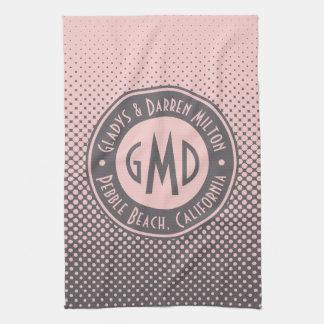 Polka Dots Monogram Millennial Pink Gray Trendy Towels