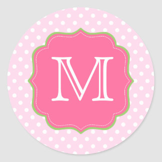 Polka Dots Monogram Pink and Green Classic Round Sticker